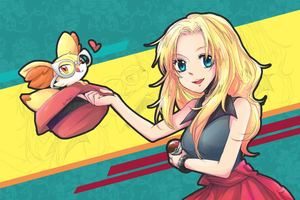 [ Pokemon ] XY girl and Fennekin by Foxmi