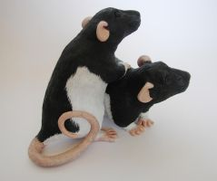 Hooded Fancy Rat Sculpture alt. angle 2 by philosophyfox