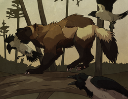 Wolverine and Crows by NorthWing