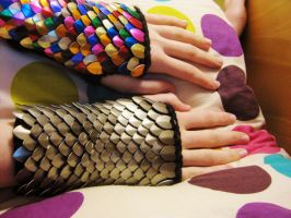 Scale Mail Knitted Gauntlets by CraftyMutt
