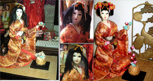 maiko with flower arrangement by curlytopsan