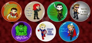 Marvel 1'' Buttons by MadMouseMedia