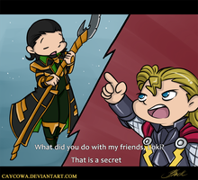 Thor  and Loki - Marvel Disk Wars by caycowa
