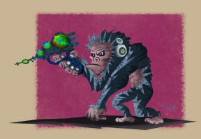 Chimp and a Gun by carnivore-art
