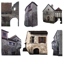 PNG medieval houses - 035 by HermitCrabStock