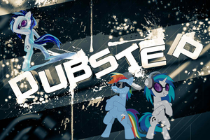 DJpon3 and Rainbow dash dubstep background by Hailthepegasi