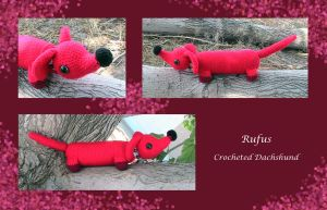 Rufus, crocheted Dachshund by Dragonrose36