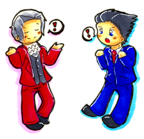PW Chibis I: Phoenix and Miles by crovvn
