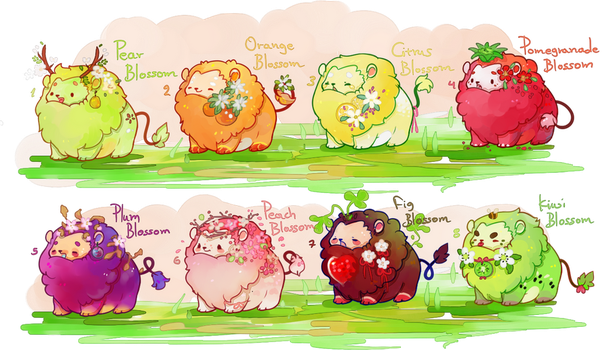 [CLOSED] fruit blossom mini lions by miloudee