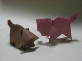 Origami Cat and Raccoon dog by GEN-H