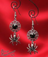 Nocturne Gothic Rhinestone Spider Earrings by ArtOfAdornment