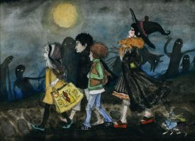 a vampire, a wizard, a girl, by Sugil