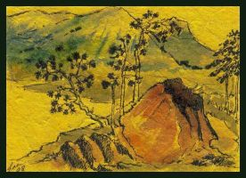 Asian Landscape ATC by ATCs-By-Faeorain