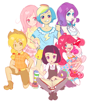 Mane six (Human Version) by Forever-Pegasister