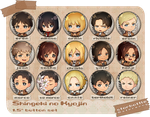Shingeki no Kyojin Button Set by Aka-Shiro