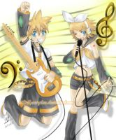 Rin and Len Rock n Roll by yesi-chan