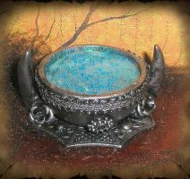 Gothic Blue Potion Cauldron by grimdeva