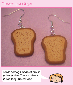 Toast earrings by fairy-cakes