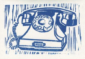 Rotary Phone Lino by baskervillain
