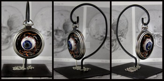 Eye am Watching you Pocket Watch with Stand by NeverlandJewelry