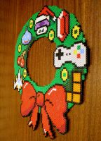 8bit Christmas Wreath - Hama Beads by lwordish