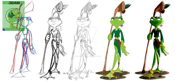 Joan the frog Character Construction by NonsenseGhost