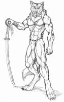 Werewolf warrior with katana by WolfLSI