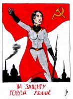 Soviet Superwoman at Leningrad siege poster by jeandulin
