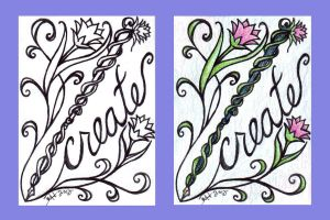 ACEO - ::Create:: BW_Colored by strryeyedreamr27