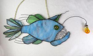 Anglerfish in Sage Green and Sea Glass Blue by trilobiteglassworks