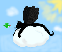 Pumpkin on a Cloud with wings, yeah by CatsofSin