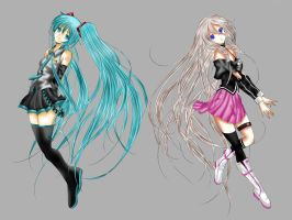 Hatsune Miku and IA Coloured Lineart 2 by Claire-Aegis-Faust