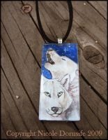 Midnight Howl glass pendant by thornwolf