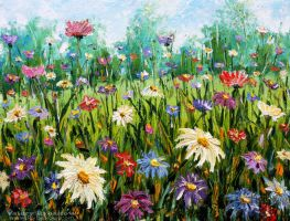 Flowers oil painting Wildflowers. Palette knife. by wwwrybakowcom