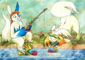 Zangoose fishing by Phoeline