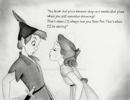 Peter Pan and Wendy (Disney Graphite Drawing) by julesrizz