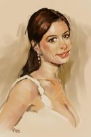 Anne Hathaway portrait - 1 hour paint by osobogly