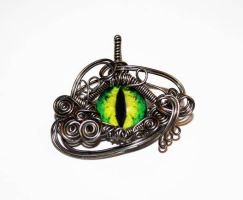 Gunmetal Wire Wrap Green Dragon Eye Pendant by Create-A-Pendant