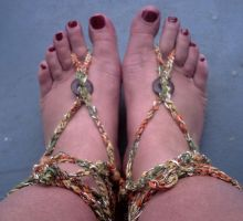 Touch of Gold Barefoot Sandals by LaMorocha66