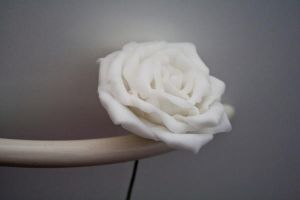 Handcrafted white rose by li-sa