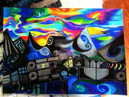 Rave festival, hallucinogenic landscape by Arielpsychedelic