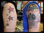 Sugar Skull / Calevera Cover-up Tattoo by vonSchloss