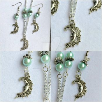 Silver Plated Moon Necklace and Earring Set by RedSilentWolfJewelry