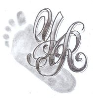 Chicano Letter Baby Foot by 2Face-Tattoo