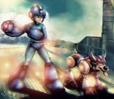 Megaman and Rush by Uryenn
