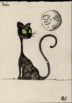 cat and moon by uzdil88