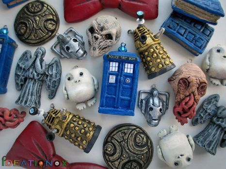 Doctor Who inspired clay charms! by Ideationox