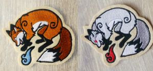 Embroidered magical Fox patches by goiku
