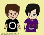 Dan and Phil Airbrush (and HAPPY9YRSOFAMAZINGPHIL) by TheHufflePuffArtist9