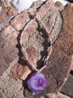 Purple Agate Geode Necklace by randilittlekitty